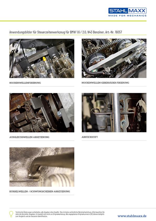 Anwendungsbeispiele Steuerzeiten-Werkzeug BMW 1,6 und 2,0 N43