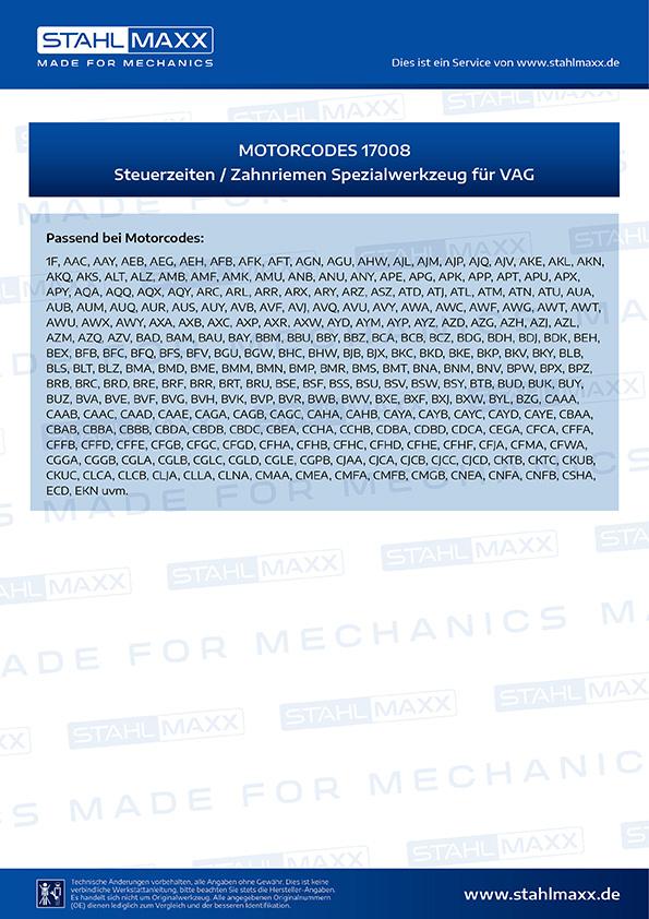 Motorcodes Steuerzeiten, Zahnriemen-Spezialwerkzeug VAG