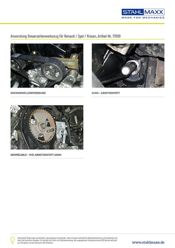Anwendungsbeispiele Zahnriemen Spezialwerkzeug Renault, Nissan und Opel