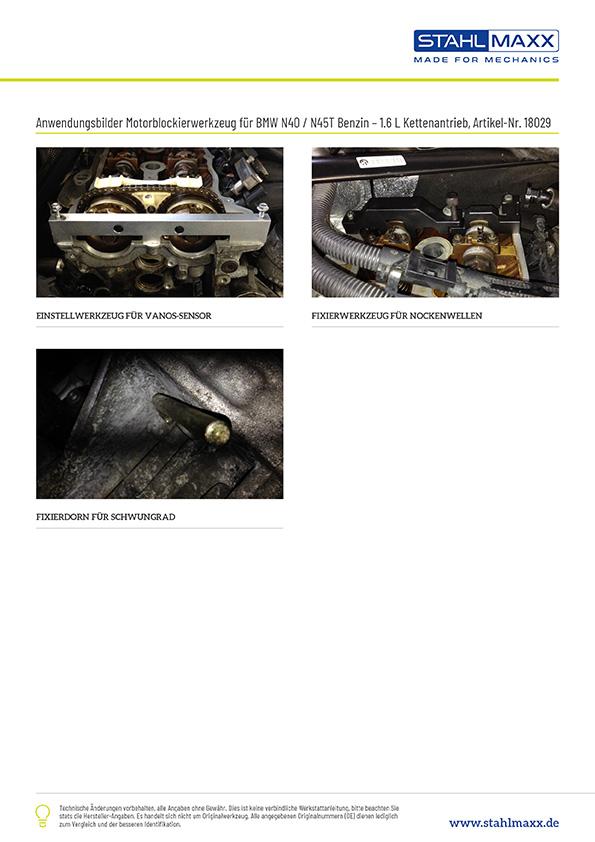 Anwendungsbeispiele Steuerketten-Spezialwerkzeug BMW 1,6