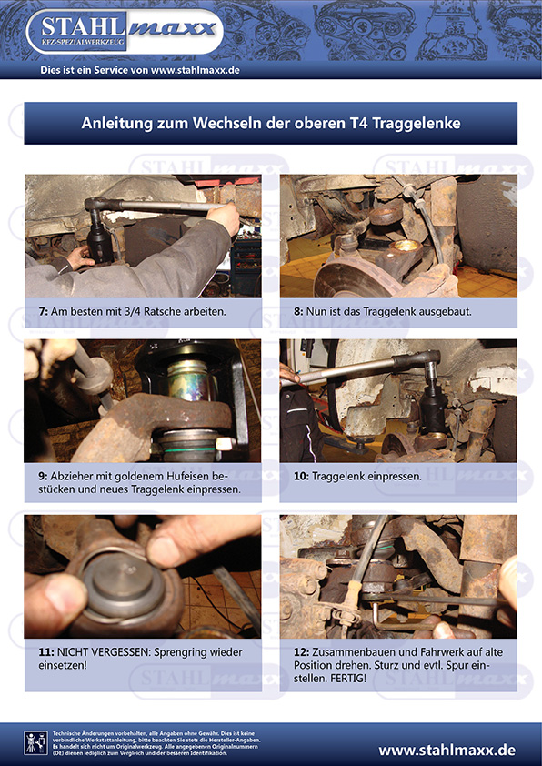 Anleitung zum Wechseln der oberen T4 Traggelenke