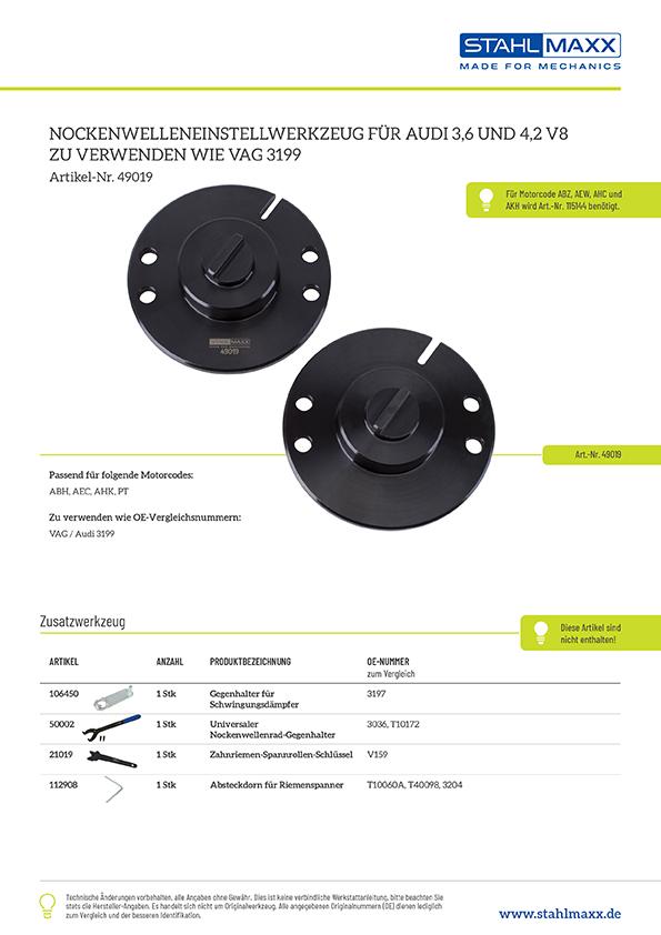 Nockenwelleneinstellwerkzeug für Audi 3,6 und 4,2 V8, wie 3199