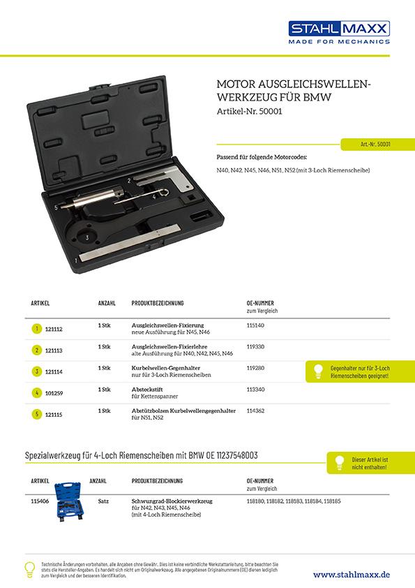 Motor-Ausgleichswellen-Werkzeug BMW, Artikel 50001