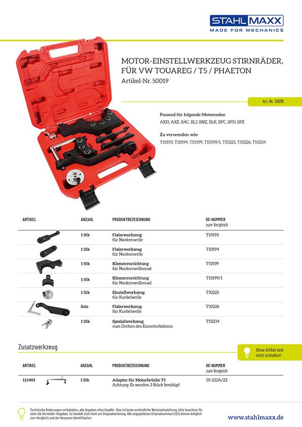 T5 Touareg Phaeton Motor-Einstellwerkzeug Stirnräder wie T10193, T10194