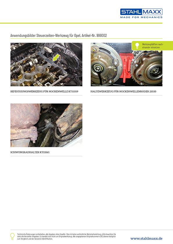 Anwendung Steuerzeiten-Werkzeug Opel 1,6 16V und 1,8