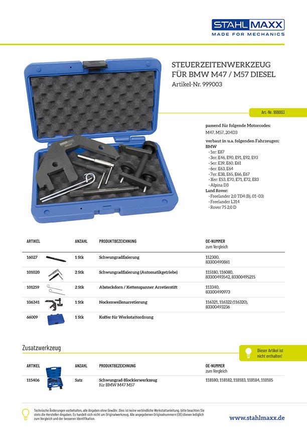 Stückliste Steuerzeiten-Werkzeug für BMW E46 M47 M57