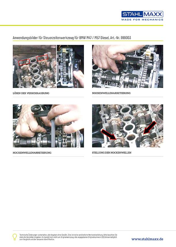 Anwendungsbeispiele Steuerzeiten-Werkzeug für BMW E46 M47 M57