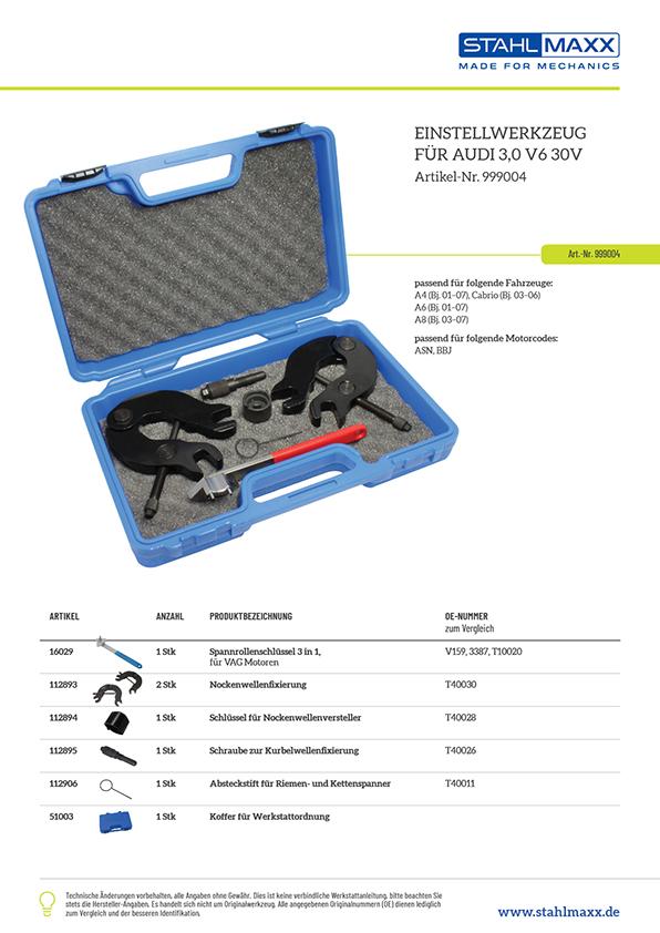 Stückliste für Einstellwerkzeug Audi 3,0 V6 30V