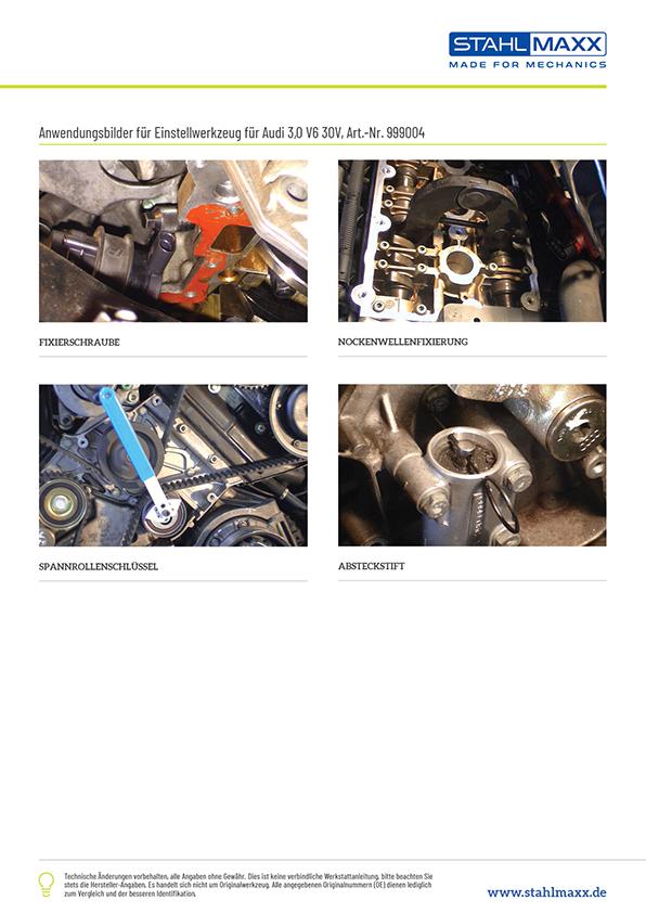 Anwendungsbeispiele Einstellwerkzeug Audi 3,0 V6 30V