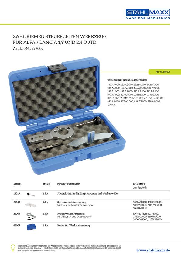 Zuordnungsliste Zahnriemen Steuerzeiten-Werkzeug Alfa Lancia 1,9 und 2,4 D JTD