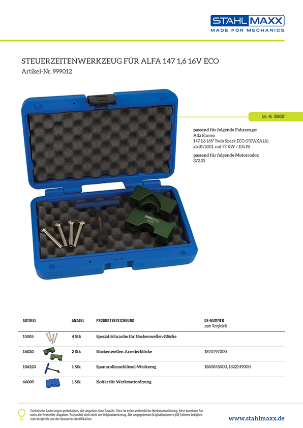 Zuordnungsliste Zahnriemen Steuerzeiten-Werkzeug Alfa 147 1,6 16V ECO