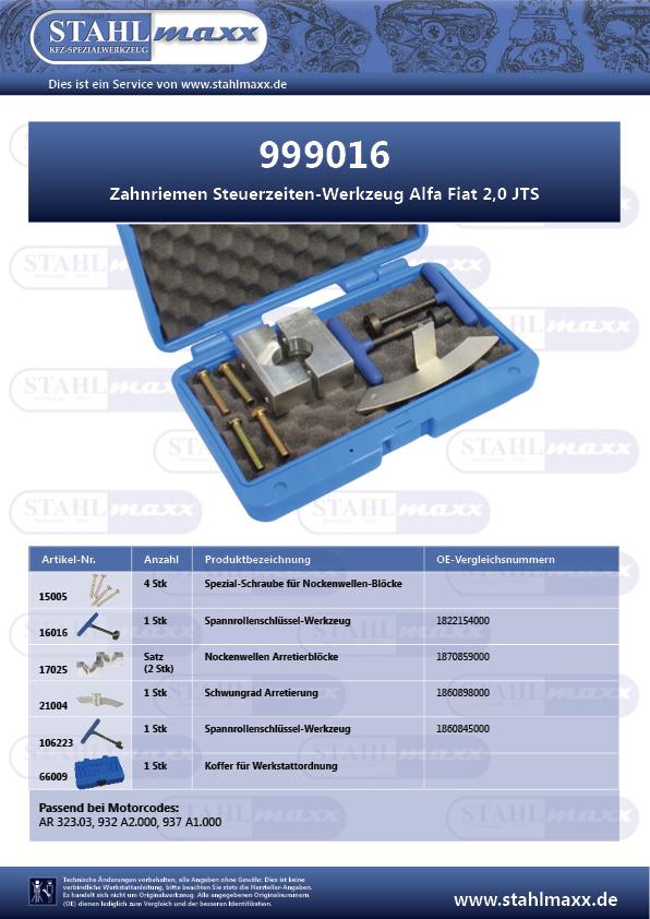 Zuordnungsliste Zahnriemen Steuerzeiten-Werkzeug Alfa Fiat 2,0 JTS