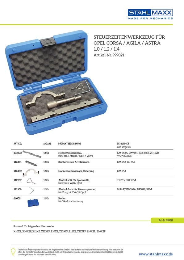 Steuerzeiten Steuerketten-Werkzeug Opel Corsa Agila Astra 1,0 1,2