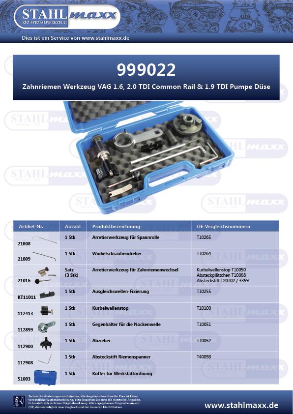 Zahnriemen Werkzeug VAG 1,6 2,0 TDI Common Rail und 1,9 TDI Pumpe Düse