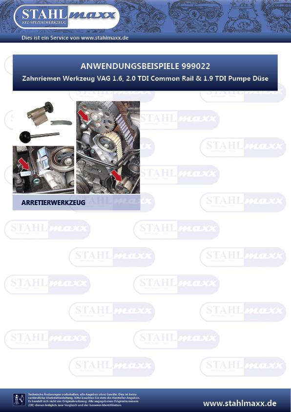Anwendung Zahnriemen Werkzeug VAG 1,6 2,0 TDI Common Rail und 1,9 TDI Pumpe Düse