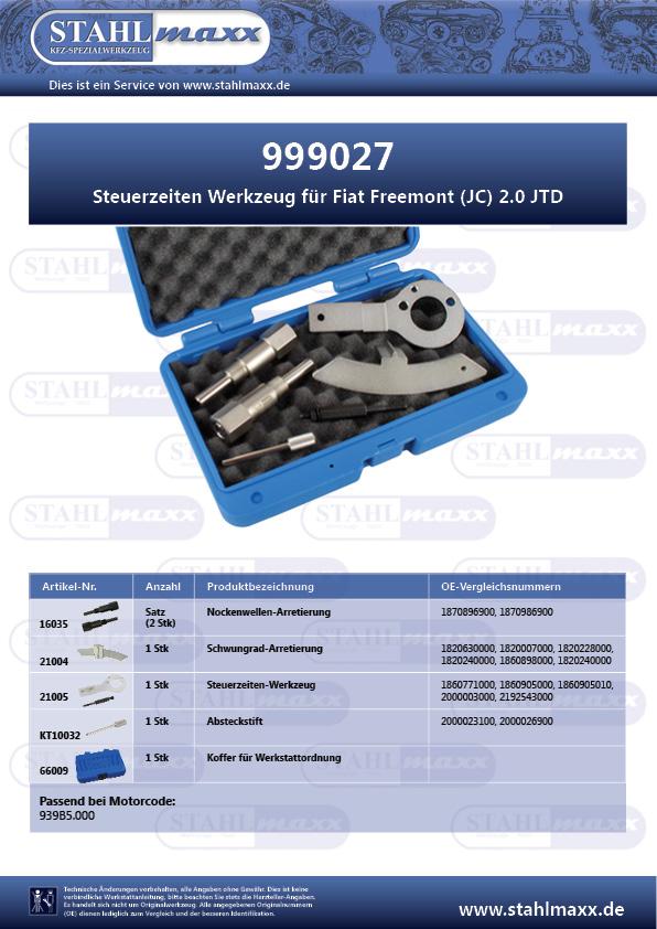 Zuordnungsliste Steuerzeiten-Werkzeug Fiat Freemont 2,0 JTD