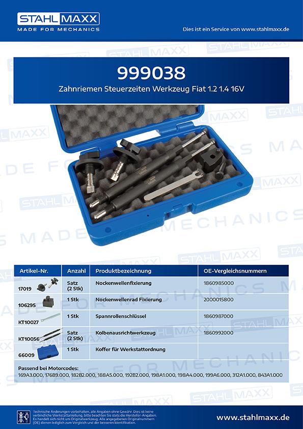 Zuordnungsliste Zahnriemen Steuerzeiten Werkzeug Fiat 1,2 1,4 16V