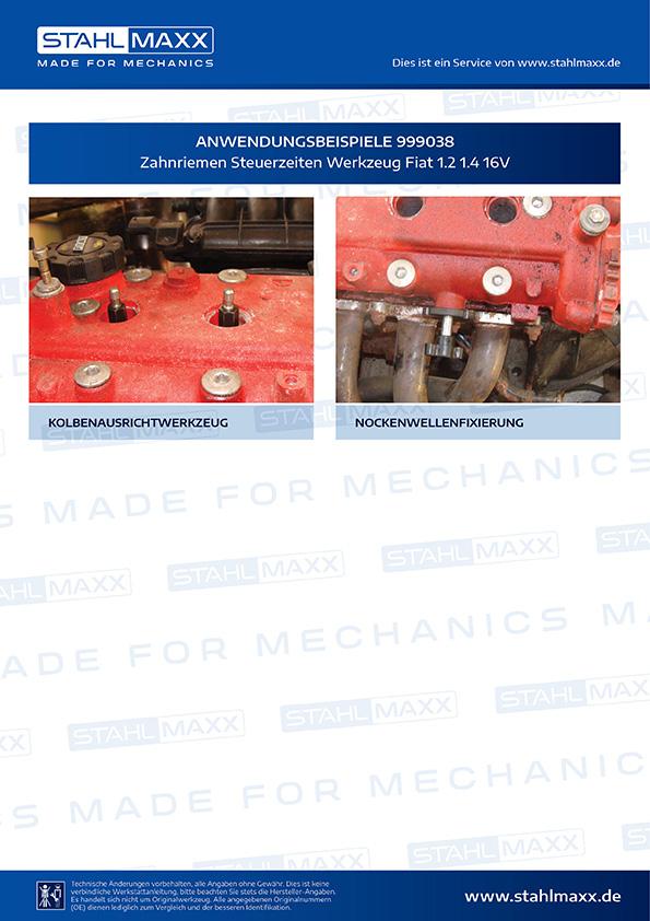 Anwendungsbeispiele Zahnriemen Steuerzeiten Werkzeug Fiat 1,2 1,4 16V
