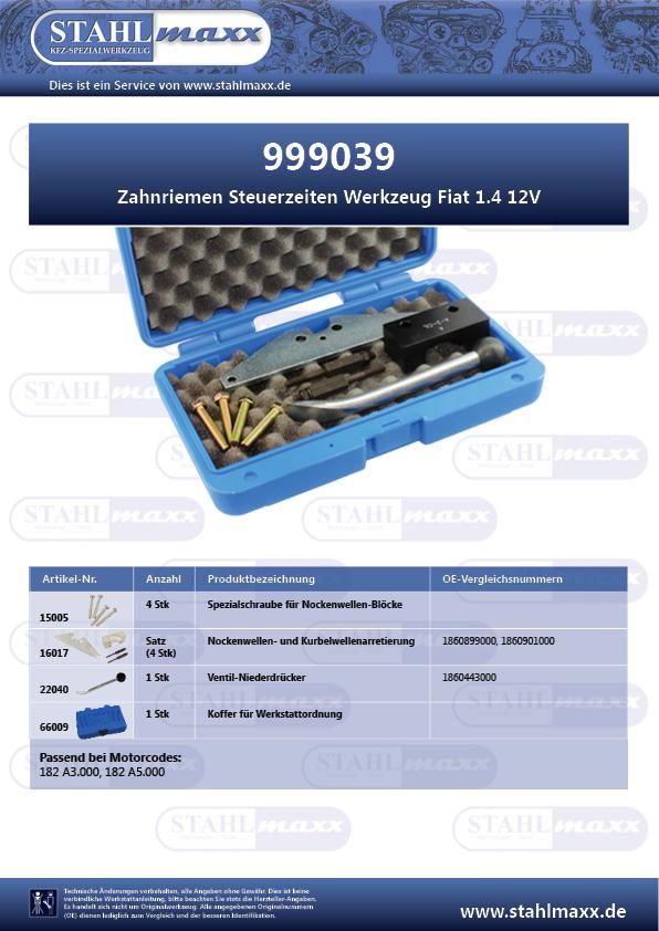 Zuordnungsliste Zahnriemen Steuerzeiten Werkzeug Fiat 1,4 12V
