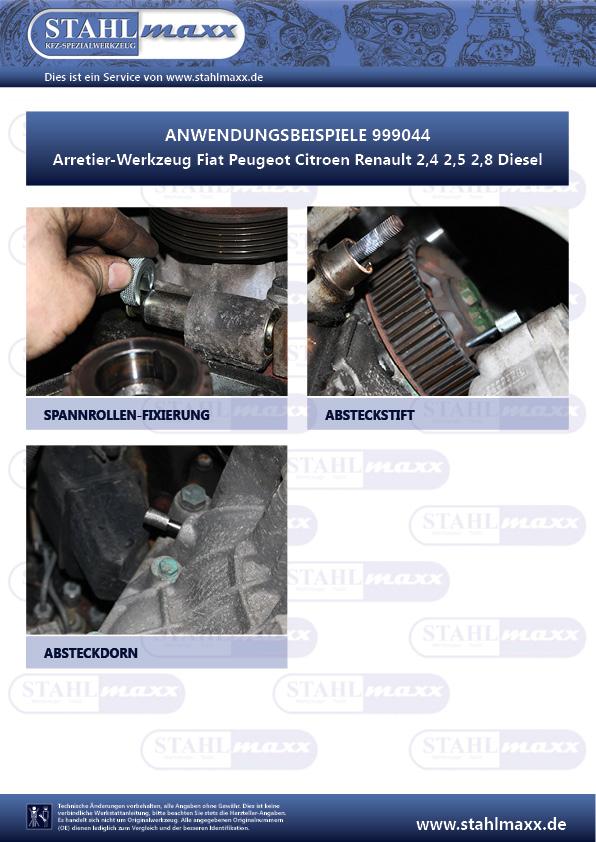 Anwendungsbeispiele Arretier-Werkzeug Fiat Peugeot Citroen Renault