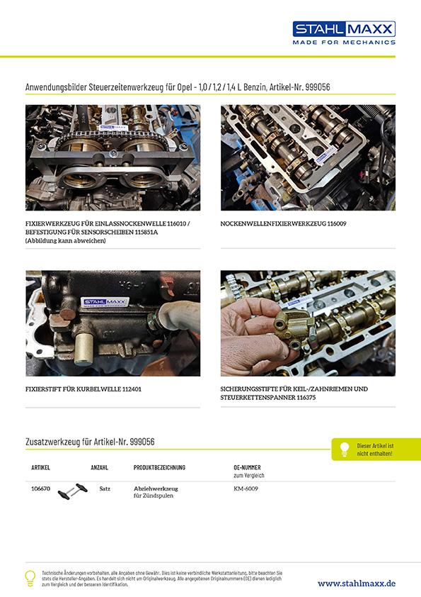 Anwendung Steuerzeiten-Spezialwerkzeug Opel 1,0 1,2 1,4L Benzin