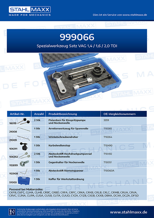 Spezialwerkzeug-Satz VAG 1,4 1,6 2,0 TDI