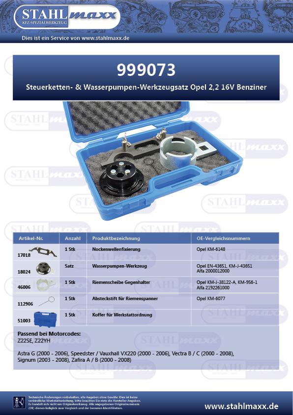 Steuerketten- und Wasserpumpen-Werkzeugsatz Opel 2,2 16V