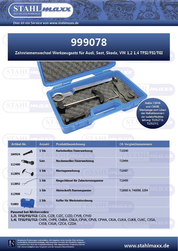 Zahnriemenwechsel Werkzeugsatz Audi Seat Skoda VW 1,2 1,4 TFSI, FSI, TGI
