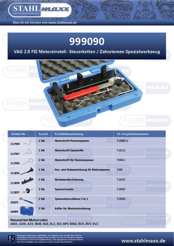 Motoreinstell-, Steuerketten-, Zahnriemen-Spezialwerkzeug VAG 2,0 FSI
