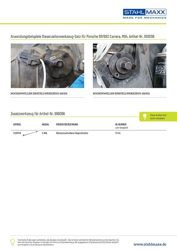 Anwendung Spezialwerkzeug Porsche 911 Carrera M64/05 und M64/06S