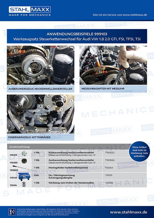 Anwendungsbeispiele Steuerkettenwechsel-Werkzeug Audi VW 1,8 2,0 GTI FSI TFSI TSI