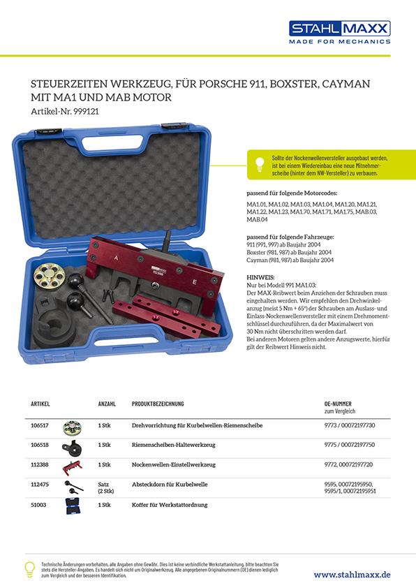 Steuerzeiten-Werkzeug Porsche Boxster Cayman MA1 MAB