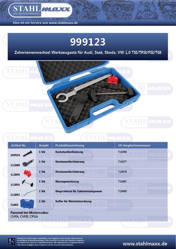 Zahnriemenwechsel-Werkzeug Audi, Seat, Skoda, VW 1,0 TSI, TFSI, FSI, TGI