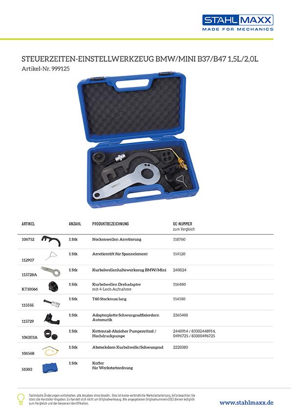 Zuordnungsliste Steuerzeiten-Einstellwerkzeug BMW Mini B37 B47 1,5l 2,0l
