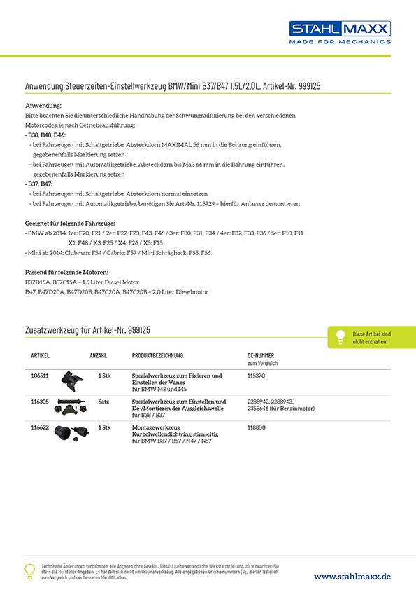 Anwendung und Zusatzwerkzeug Steuerzeiten-Einstellwerkzeug BMW Mini B37 B47 1,5l 2,0l