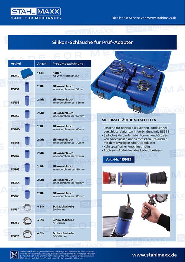 Silikonschläuche und Schellen für Prüf-Adapter