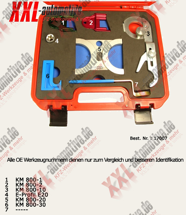 Zuordnungsliste für Opel und Saab V6 Motoren Spezialwerkzeug